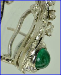 Antique Art-Nouveau 14k w. Gold, Diamonds & Colombian Emeralds Earrings set in box