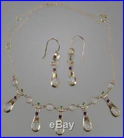 Antique Art Nouveau 15K Gold MURRLE BENNETT Suffragette Necklace Earring Set Box