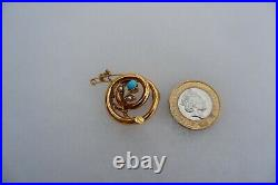 Antique Art Nouveau 15ct Gold Turquoise Set Brooch C1898, Safety Chain, Box
