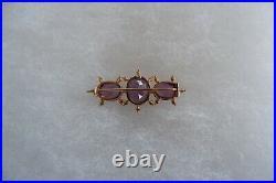 Antique Art Nouveau 18/19ct Gold Amethyst Trilogy Set Bar Brooch C1905's, Box