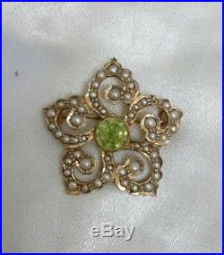 Antique Art Nouveau 9ct Gold Peridot & Seed Pearl Set Pendant / Brooch c1890