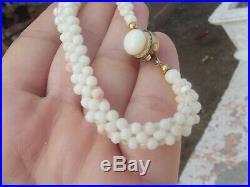 Antique Art Nouveau Angel Skin Coral Silver Necklace Bracelet Earrings Pin Set