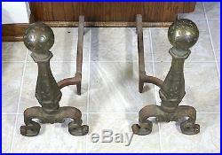 Antique Art Nouveau Bronze Andiron Pair c1919 Fire Dogs Deco Log Hearth 3713 Set