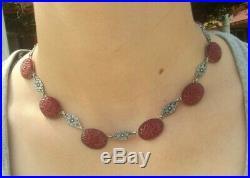 Antique Art Nouveau Carved Carnelian Sterling Silver Necklace Bracelet Set 51g