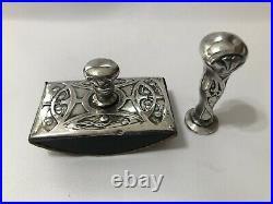 Antique Art Nouveau Continental Silver Wax Seal & Blotter Set