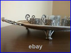Antique Art Nouveau German WMF Set 6 pcs. Silverplate Glass Cup Holder And Tray