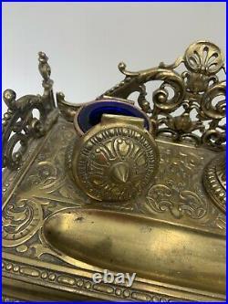 Antique Art Nouveau Gold JB Jennings Bros Desk Set Double Inkwell Blotter & Box
