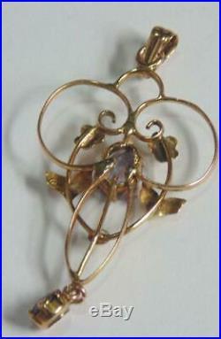 Antique Art Nouveau Gold Pendant Set With Amethysts