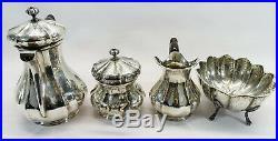 Antique Art Nouveau Italian Solid Silver Coffee / Tea Set Sugar Bowl Jug 800