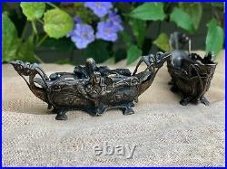 Antique Art Nouveau Jugendstil Jardiniere Italian Bronze Set Of 2 Planters