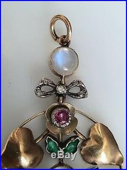 Antique Art Nouveau Moonstone Diamond Emerald Ruby Pendant 9ct Gold