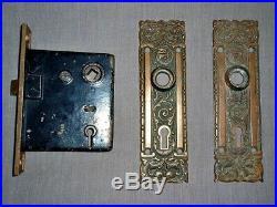 Antique Art Nouveau Solid Brass Door Knob & Lock Set Exquisite