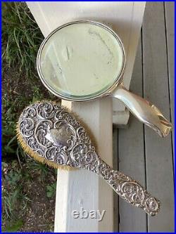 Antique Art Nouveau Sterling Silver Repousse Vanity Hand Mirror & Brush Set