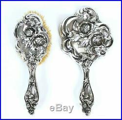 Antique Art Nouveau Sterling Silver Vanity Set Mirror Brush Simpson Hall Miller