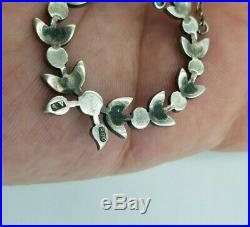 Antique Art Nouveau Turquoise & Silver Pendant Necklace Bow Pave Set