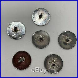 Antique Art Nouveau sterling silver 6 button set round signed Felix Rasumny lady