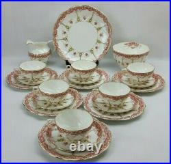 Antique Aynsley Art Nouveau 21 Piece Bone China Tea Set Pink Floral