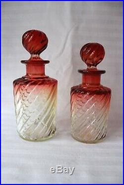 Antique Baccarat crystal vanity set Bambou Tors c 1916