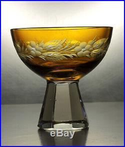 Antique Bohemian Amber to Clear Cut Glass Decanter/Carafe Set/6 glasses/Nový Bor