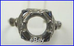 Antique Deco Setting Mounting 18K White Gold Hold 7-7.5MM Ring Size 8.5 UK-Q1/2