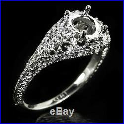Antique Diamond Engagement Ring Setting Art Nouveau Filigree Semi-mount Round