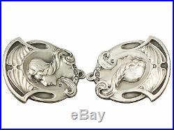 Antique Edwardian Set of Six Sterling Silver Buttons, Art Nouveau Style