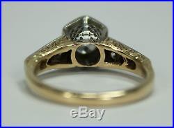Antique Estate 14k Gold. 87ctw Diamond Engagement Ring Art Deco Hexagon Setting