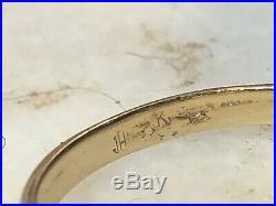 Antique Estate 14k Gold Red Garnet Ring Belcher Setting Art Nouveau Gemstone