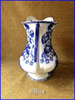 Antique FLOW BLUE St. Regis Wood & Son PITCHER BOWL WASH JUG BASIN Set