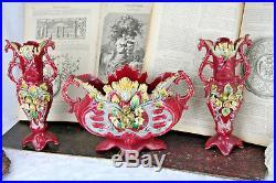 Antique French 1900 art nouveau Barbotine Majolica Vases Set center piece