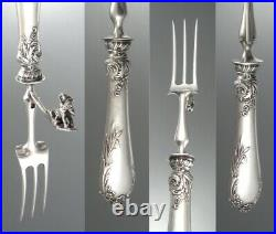 Antique French Art Nouveau Silver Clad Carving Set, Dog, Cattails, Duck Hunting