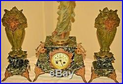 Antique French Moreau Figural Bronze Marble Chanson Mantel Clock Candelabra Set