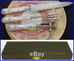 Antique French Sterling Silver 3pc Meat Carving Set, Art Nouveau Pattern, in Box