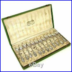 Antique French Sterling Silver Art Nouveau Iris Teaspoons Coffee Tea Spoons Set