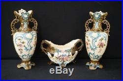 Antique French barbotine majolica Vases centerpiece set 1900 art nouveau