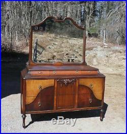 Antique H Herrmann French Art Deco Bedroom Set Dressers Mirror Bed Nightstand