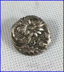 Antique Henry Matthews 1902 Cased Set Of Six Solid Silver Art Nouveau Buttons