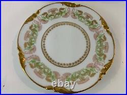 Antique Jean Pouyat Limoges Porcelain Set of 8 Plates with Gilt Trim & Floral Dec