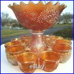 Antique Marigold Fenton Carnival Glass Orange Fruit Punch Bowl Set Imperial Cups