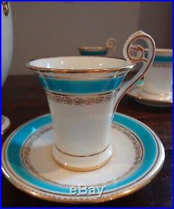 Antique Mintons Chocolate Set Teapot 6 Cups & 6 Saucers Blue & Gilt Spectacular