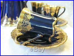 Antique Nippon Chocolate Pot Set Cobalt Blue & Gold Encrusted Floral Moriage