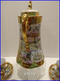 Antique Nippon Japan Chocolate Pot Set Hand Painted withGold Geisha Girl