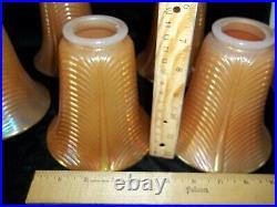 Antique Northwood Drape Pillar Glass Shades Set of 5 Marigold Carnival Moonstone