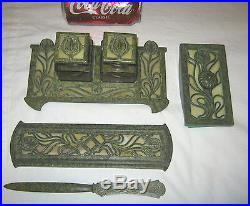 Antique Nouveau Arts Crafts Bradley Hubbard Bronze Inkwell Pen Tray Set Tiffany