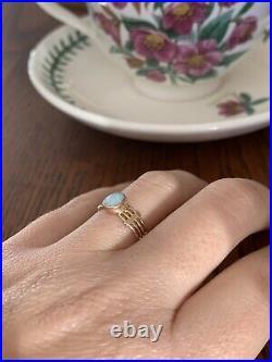 Antique OPAL 14k Rose Gold Art Nouveau Ring Bezel Set 4 Band Stacker Deco Unique
