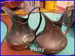 Antique Orivit Art Nouveau Art Deco Pewter Germany RARE 8 piece Tea Set NICE