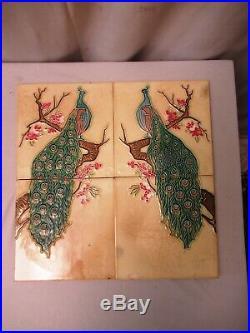 Antique Peacock Tiles Couple Complete Set Peranakan Majolica Fm Trade Mark Japa