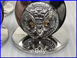 Antique Rare Sampson Mordan Cased Set Of Solid Silver Owl Menu / Name Holders