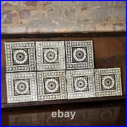 Antique Reclaimed Sunflower Minton Hollins and Co Tiles Stoke-on-Trent Set of 7