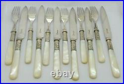 Antique Set 12 Mother Of Pearl Handle Solid Silver Collar Knives & Forks Hm 1903